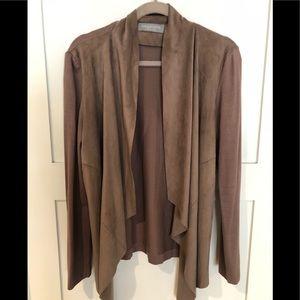 Bagatelle Faux-Suede Drape Front Jacket, Size L